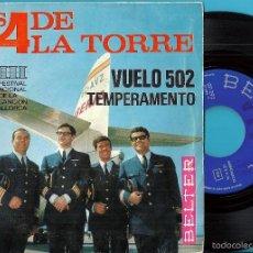 Discos de vinilo: 4 DE LA TORRE, LOS: 3º FESTIVAL INTERNACIONAL DE LA CANCIÓN DE MALLORCA: VUELO 502 / TEMPERAMENTO. Lote 60686751