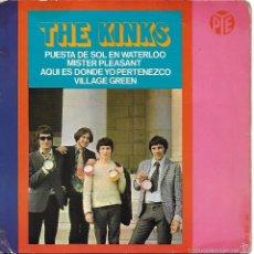 Discos de vinilo: KINKS, THE: PUESTA DE SOL EN WATERLOO / MISTER PLEASANT / AQUÍ ES DONDE YO PERTENEZCO. SÓLO PORTADA. Lote 84592290