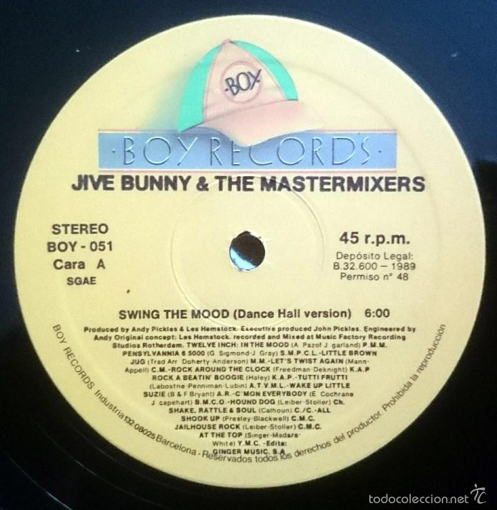 Discos de vinilo: Jive Bunny And The Mastermixers: Swing the mood, Maxisingle Boy Records BOY-051, Spain, 1989.VG+/VG+ - Foto 2 - 60839799