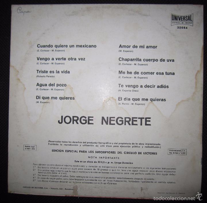 Discos de vinilo: MAXI SINGLE. JORGE NEGRETE. - Foto 2 - 60903515