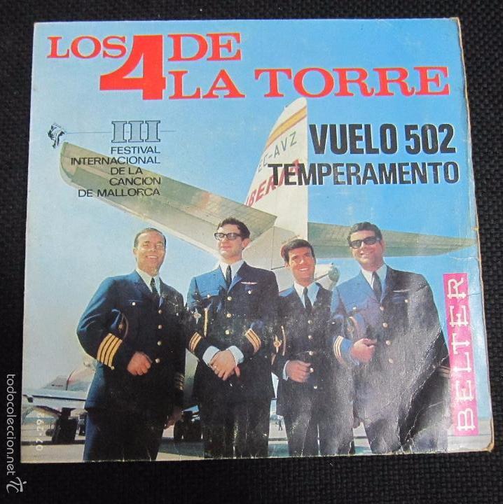 SINGLE. LOS 4 DE LA TORRE. VUELO 502. TEMPERAMENTO. III FESTIVAL DE LA CANCIÓN DE MALLORCA. (Música - Discos - Singles Vinilo - Grupos Españoles 50 y 60)