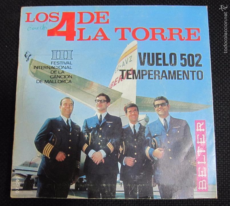 Discos de vinilo: SINGLE. LOS 4 DE LA TORRE. VUELO 502. TEMPERAMENTO. III FESTIVAL DE LA CANCIÓN DE MALLORCA. - Foto 2 - 60946007
