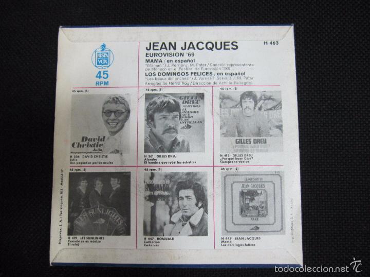 Discos de vinilo: SINGLE. JEAN JACQUES. EUROVISION´69. CANTA EN ESPAÑOL. MAMA. - Foto 2 - 60949487