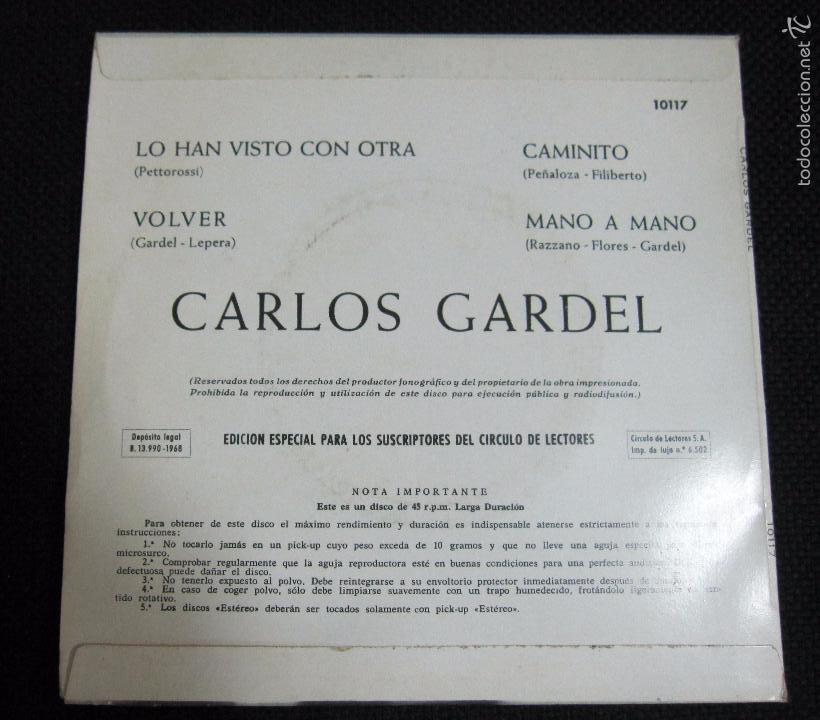 Discos de vinilo: SINGLE. CARLOS GARDEL. LO HAN VISTO CON OTRA. VOLVER. - Foto 2 - 60983051