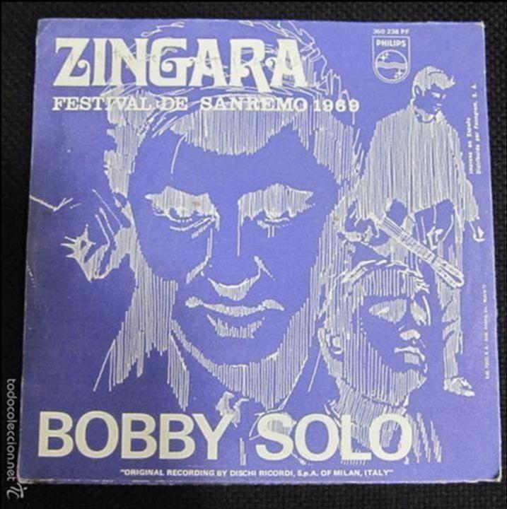 SINGLE. ZINGARA. FESTIVAL DE SANREMO 1969. BOBBY SOLO. (Música - Discos - Singles Vinilo - Otros Festivales de la Canción)