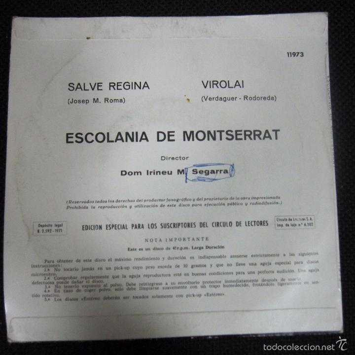 Discos de vinilo: SINGLE. ESCOLANIA DE MONTSERRAT. SALVE REGINA. VIROLAI. - Foto 2 - 61020175