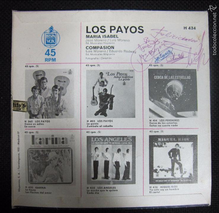 Discos de vinilo: SINGLE. LOS PAYOS. MARIA ISABEL. COMPASION. - Foto 2 - 61022091