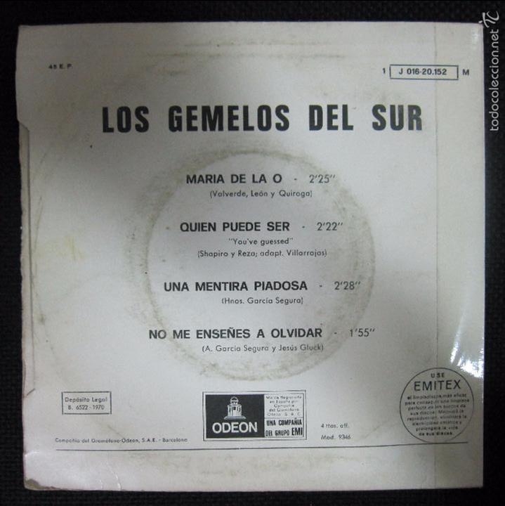 Discos de vinilo: SINGLE. LOS GEMELOS DEL SUR. MARIA DE LA O. QUIEN PUEDE SER. - Foto 2 - 61026939