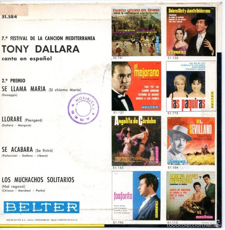 Discos de vinilo: TONY DALLARA canta en Español, EP, SE LLAMA MARÍA + 3, AÑO 1965 - Foto 2 - 61059911