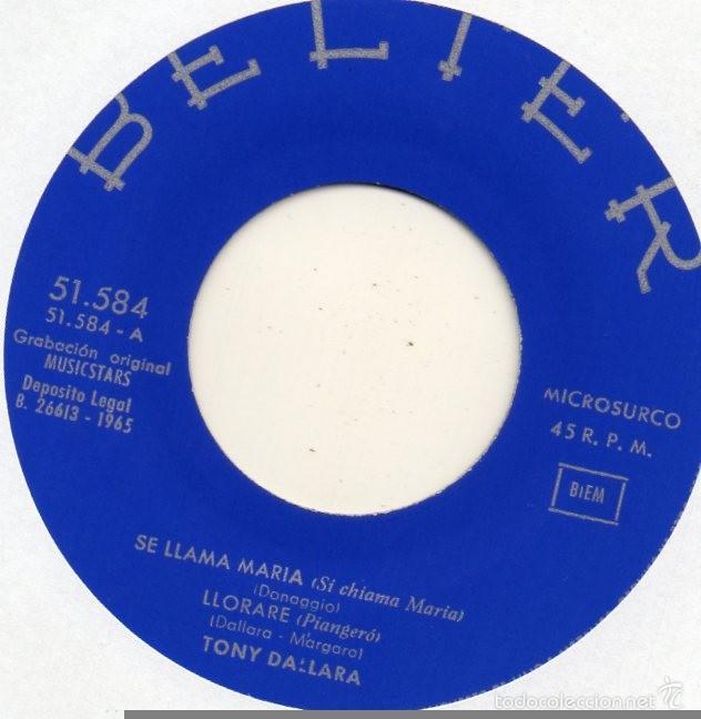 Discos de vinilo: TONY DALLARA canta en Español, EP, SE LLAMA MARÍA + 3, AÑO 1965 - Foto 3 - 61059911