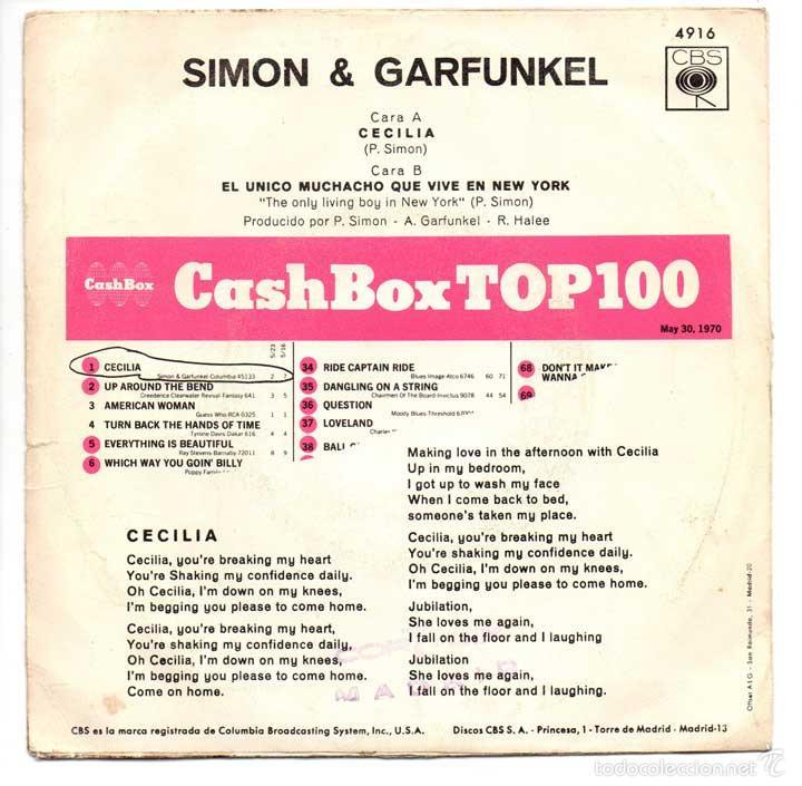 Discos de vinilo: Simon y Garfunkel - Cecilia / El único muchacho que vive en New York - CBS 1970 - Foto 2 - 61094255