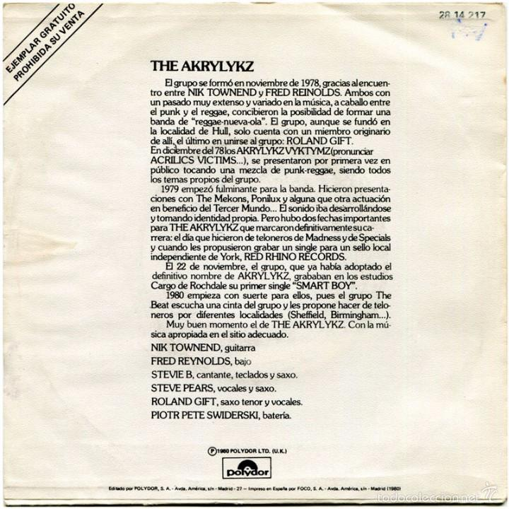 Discos de vinilo: The Akrylykz (On The Wave) – Smart Boy - Sg Promo Spain 1980 - Polydor 28 14 217 - Foto 2 - 61110875