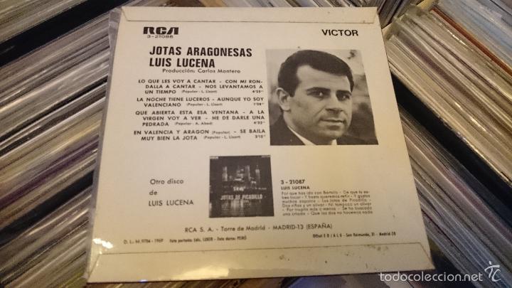 Discos de vinilo: Jotas aragonesas Luis de lucena Ep disco de vinilo single RCA - Foto 2 - 61124223