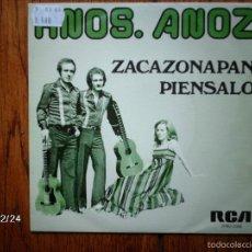 Discos de vinilo: HERMANOS ANOZ - ZACAZONAPAN + PIENSALO . Lote 61222271