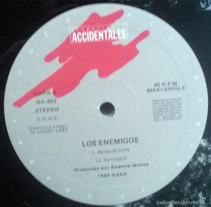 Discos de vinilo: Los Enemigos. Boquerón/ John Wayne. Grabaciones Accidentales, Spain 1989 Maxi-LP - Foto 3 - 61247499