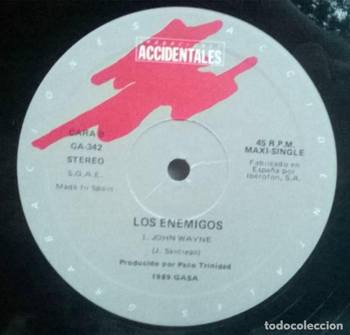 Discos de vinilo: Los Enemigos. Boquerón/ John Wayne. Grabaciones Accidentales, Spain 1989 Maxi-LP - Foto 3 - 61420407