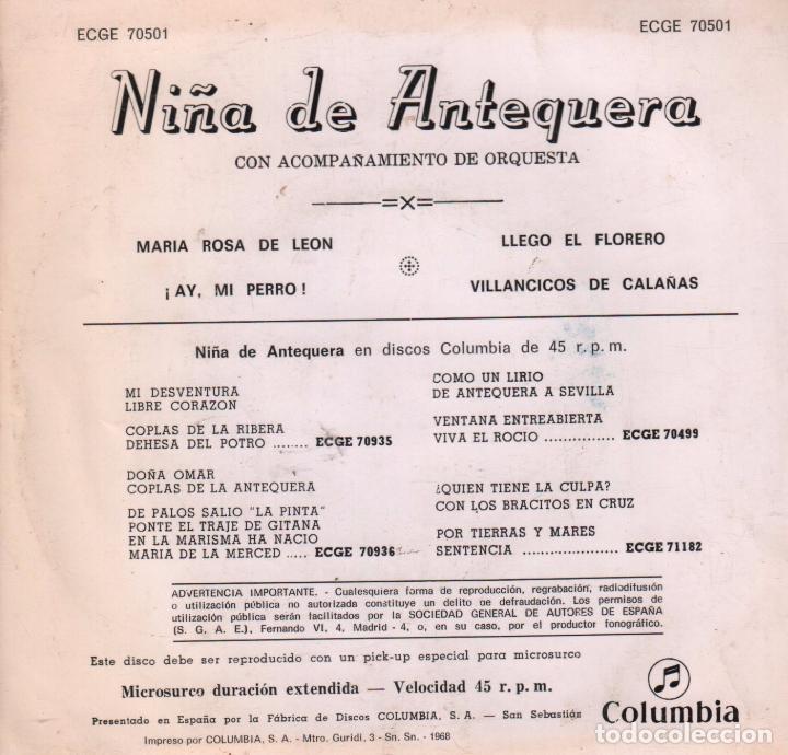 Discos de vinilo: NIÑA DE ANTEQUERA MARIA ROSA DE LEON / ¡ AY, MI PERRO ! / LLEGO EL FLORERO / VILLANCICOS DE CALAÑAS - Foto 2 - 61528802