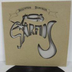 Discos de vinilo: LOS GARFIOS - BUSCAMOS DIVERSION - LP - BALADAS 1994 SPAIN CARPETA TROQUELADA - N MINT. Lote 61563344