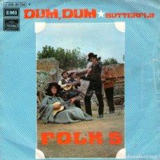 Discos de vinilo: FOLK-5 - SINGLE VINILO 7'' - EDITADO EN ESPAÑA - DUM DUM + BUTTERFLY - EMI REGAL 1971. Lote 61566456