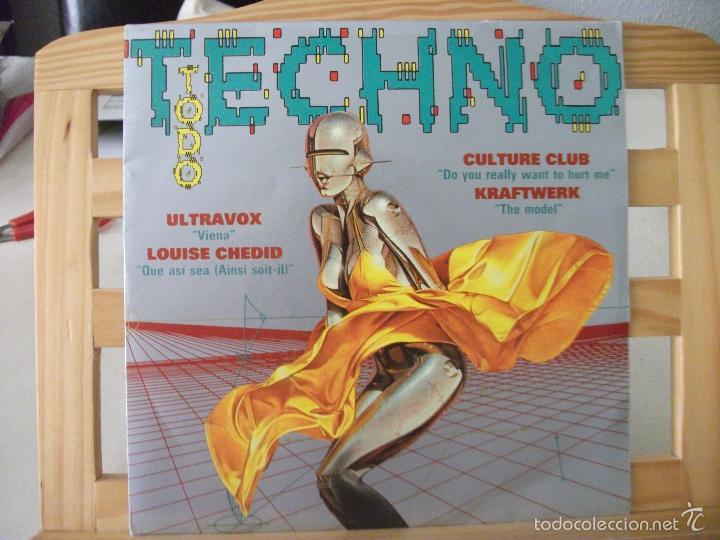 SINGLE PROMO TODO TECHNO, ULTRAVOX / LOUIS CHEDID / CULTURE CLUB / KRAFTWERK (AÑO 1993), UNA CARA (Música - Discos - Singles Vinilo - Techno, Trance y House)