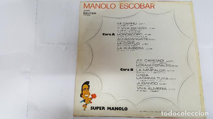 Discos de vinilo: MAGNIFICO LP DE - SUPER MANOLO - MANOLO ESCOBAR - - Foto 2 - 61675752