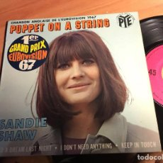 Disques de vinyle: SANDIE SHAW (PUPPET ON A STRING) EP FRANCIA EUROVISION 1967 (EPI2). Lote 61858916