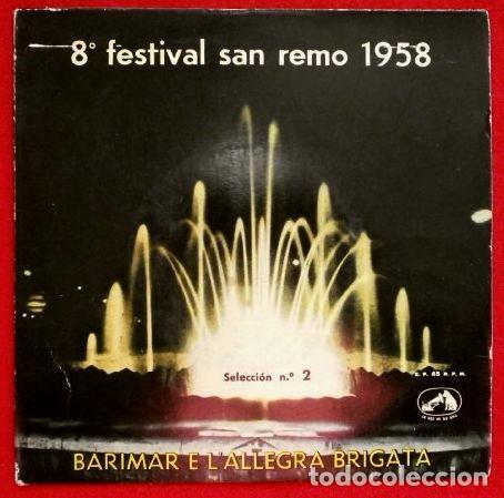 8º FESTIVAL DE SAN REMO 1960 (EP.1958) (RARO) BARIMAR E L'ALLEGRA BRIGATA- SANREMO (Música - Discos de Vinilo - EPs - Otros Festivales de la Canción)