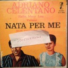 Discos de vinilo: ADRIANO CELENTANO - NATA PER ME, NON ESSERE TIMIDA, VELEN, HELLO MARY LOU- ZAFIRO 1962. Lote 61853240