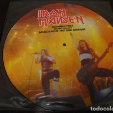 Discos de vinilo: IRON MAIDEN - PICTURE DISC - RUNNING FREE - SANCTUARY - MURDERS - LIVE AFTER DEATH. Lote 61910080