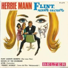 Discos de vinilo: EP FLINT AGENTE SECRETO ( HERBIE MANN ) + BEATLES YESTERDAY + ENNIO MORRICONE MALAMONDO. Lote 61927704