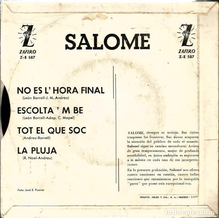 Discos de vinilo: EP SALOME : NO ES L´HORA FINAL ( TEMES DE LEON BORRELL & J.M. ANDREU ) - Foto 2 - 61931340