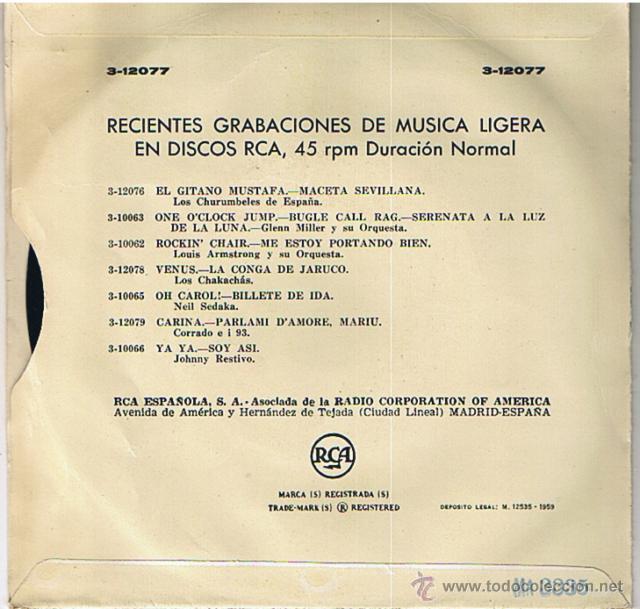 Discos de vinilo: Trio Calaveras- La malagueña. Fallaste corazón (RCA 1959) - Foto 2 - 62020080