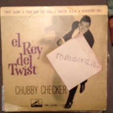 Discos de vinilo: CHUBBY CHECKER - TWIST ALONG, YOUR LIPS AND MINE, TWISTIN USA, BLUEBERRY HILL AÑO 1.962 ED.ESPAÑA. Lote 62053136