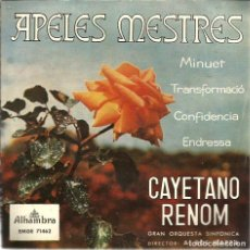 Discos de vinilo: EP CAYETANO RENOM : CANÇONS D´APELES MESTRES . Lote 62096356