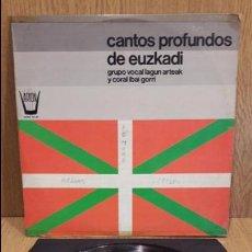Discos de vinilo: GRUPO VOCAL LAGUN ARTEAK. CANTOS PROFUNDOS DE EUZKADI. LP / ARION - 1977. **/***. Lote 62114992
