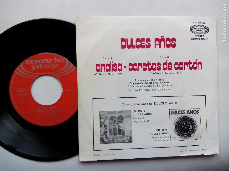 Discos de vinilo: DULCES SUEÑOS. ANALISA. SINGLE MOVIEPLAY SN-20562. ESPAÑA 1971. CARETAS DE CARTÓN. LOS PEKENIKES. - Foto 2 - 62196932