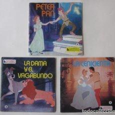 Discos de vinilo: TRES CUENTODIOSCO BRUGUERA: PETER PAN, LA DAMA Y EL VAGABUNDO, LA CENICIENTA - DISNEYLAND. Lote 62367776