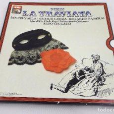 Discos de vinilo: VERDI. LA TRAVIATA. CECCATO. EMI 1972. EDICIÓN FRANCESA. ESTUCHE 3 LP' S. Lote 62394560
