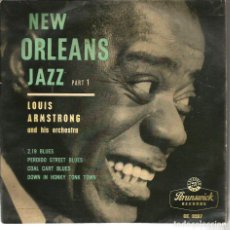 Discos de vinilo: EP LOUIS ARMSTRONG : 2.19 BLUES + PERDIDO STREET BLUES + COALT CART BLUES + DOWN IS HONKY TONK TOWN . Lote 62462480