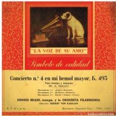 Discos de vinilo: DENNIS BRAIN - CONCIERTO Nº 4 EN MI BEMOL MAYOR K.495 - EP. Lote 62525268