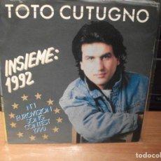 Discos de vinilo: TOTO COTUGNO INSIEME 1992 SINGLE ITALY 1990 PDELUXE. Lote 62566592