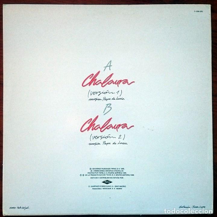 Discos de vinilo: Chalaura (Pepe de Lucía). Chalaura, Maxisingle Twins T-1259, Spain, 1988. M/VG+. Unplayed. - Foto 4 - 62655868