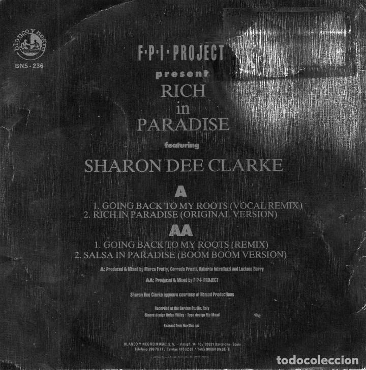 Discos de vinilo: F.P.I. PROJECT PRESENT, SG, RICH IN PARADISE + 1, AÑO 1990 PROMO - Foto 2 - 62663168