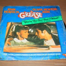 Discos de vinil: GREASE JOHN TRAVOLTA OLIVIA NEWTON JOHN YOU'RE THE ONE THAT I WANT SINGLE VINILO SVG. Lote 62704452