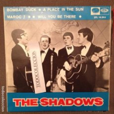 Discos de vinilo: THE SHADOWS: BOMBAY DUCK, A PLACE IN THE SUN, MAROC 7,WILL YOU BE THERE EP ED. ESPÂÑA 1967 . Lote 62750652