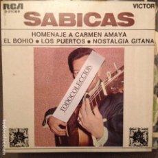 Discos de vinilo: SABICAS: HOMENAJE A CARMEN AMAYA, EL BOHIO, LOS PÙERTOS, NOSTALGIA GITANA EP RCA 1969. Lote 62760968