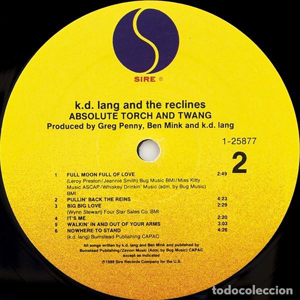 Discos de vinilo: k.d. lang and the Recline - absolute torch twang 89, COMPLETA 1ª EDIC ORG USA + ENCARTE, impecable - Foto 4 - 63155220