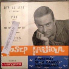 Discos de vinilo: JOSEP GUARDIOLA : SE'N VA ANAR /PAU /SOC AQUI A PROP TEU/DUBTES 1963 JOSEP MARIA ANDREU/LLEO BORRELL. Lote 63165264
