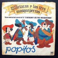 Discos de vinilo: SINGLE POPITOS - D'ARTACAN Y LOS TRES MOSQUEPERROS - TEMA CENTRAL DE LA SERIE DE TV. - BELTER 1982.. Lote 63342732