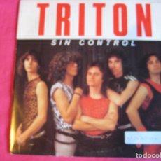 Discos de vinilo: TRITON SG CHAPA 1985 SIN CONTROL/ SANGRE Y SUDOR HEAVY METAL MAZO OBUS BARON ROJO. Lote 63378104